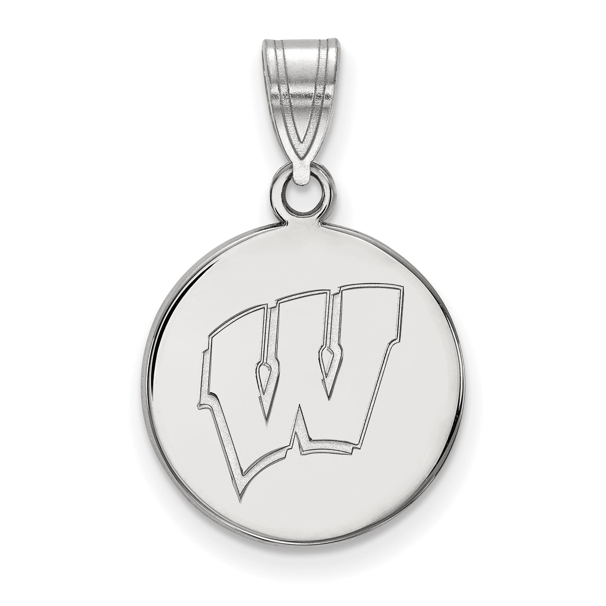 925 Sterling Silver Rhodium-plated Laser-cut University of Wisconsin XS Pendant