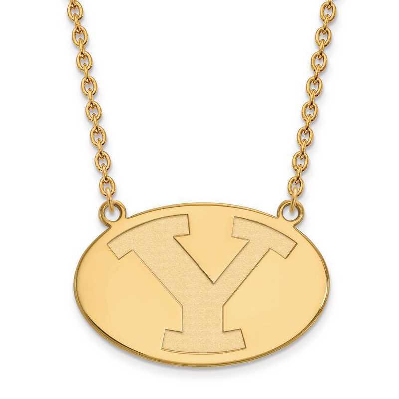 1Y010BYU-18: 10ky LogoArt Brigham Young Univ Large Pendant w/Necklace