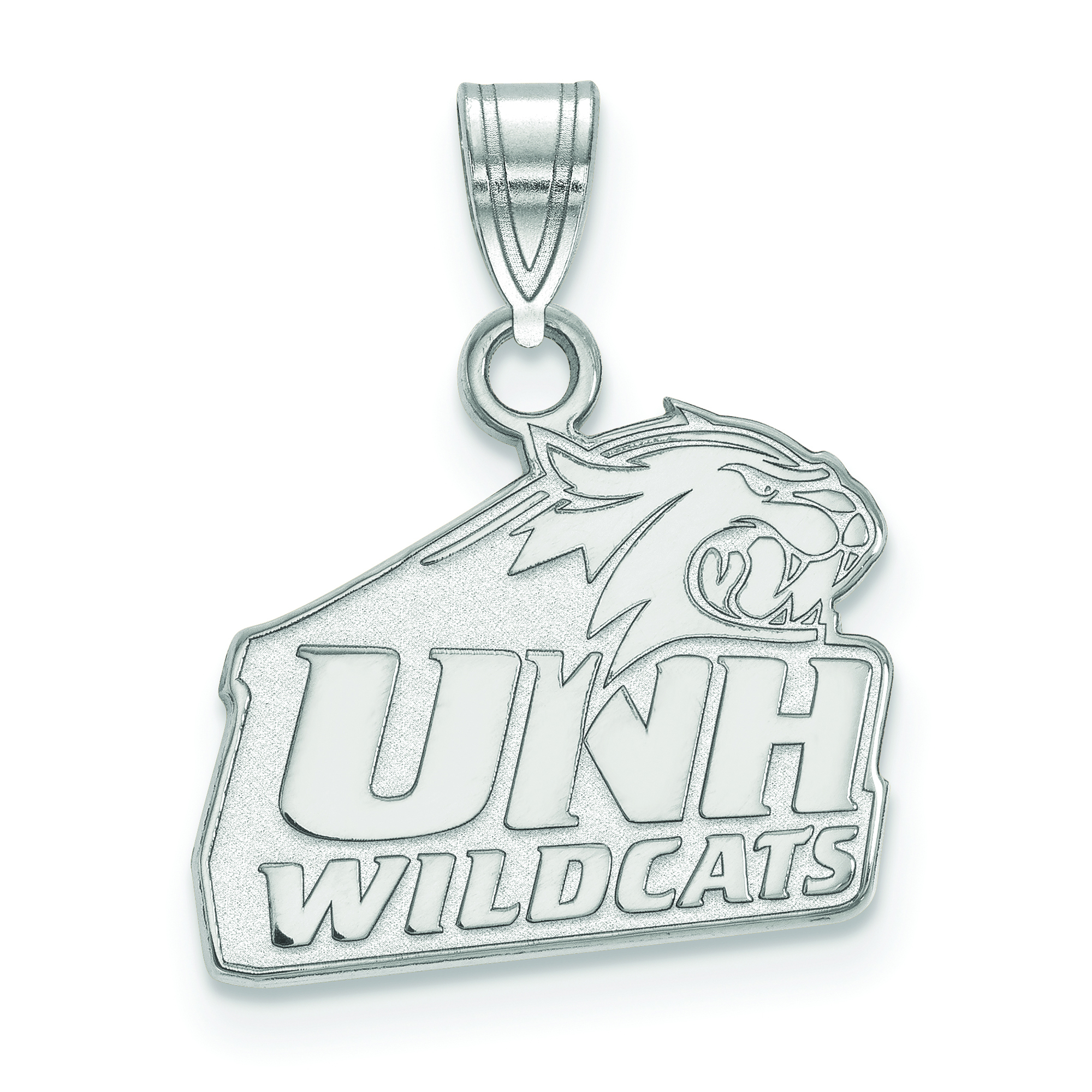 White Sterling Silver Charm Pendant New Hampshire NCAA University Of 15 mm 12