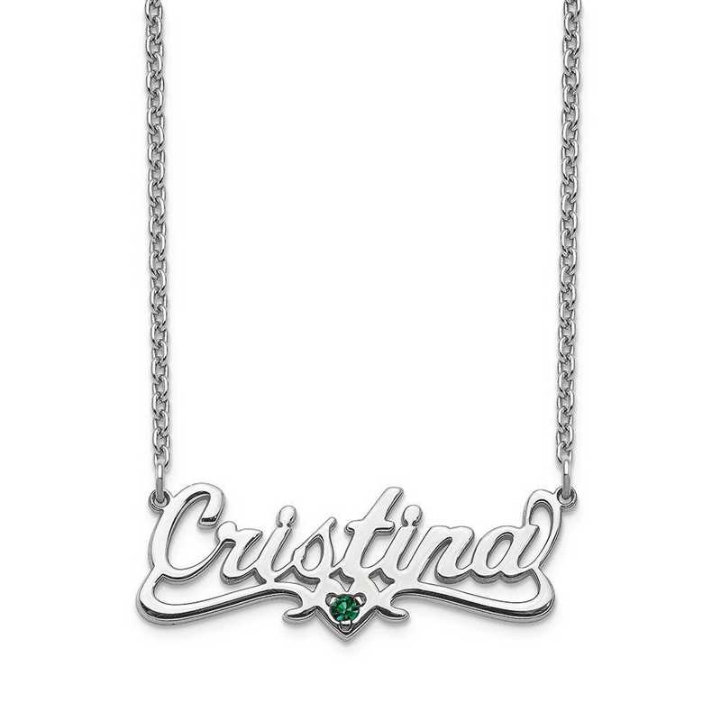 Personalized 10 Karat White Gold Crystal Birthstone Name Plate Necklace
