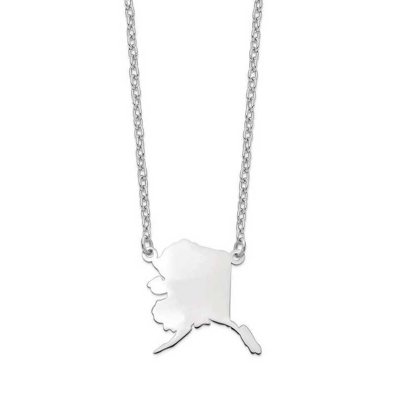 XNA706W-AK: 14k White Gold AK State Pendant with chain