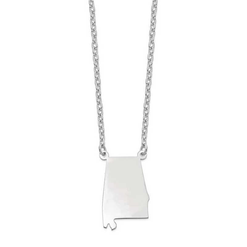 XNA706W-AL: 14k White Gold AL State Pendant with chain