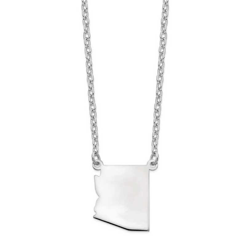 XNA706W-AZ: 14k White Gold AZ State Pendant with chain