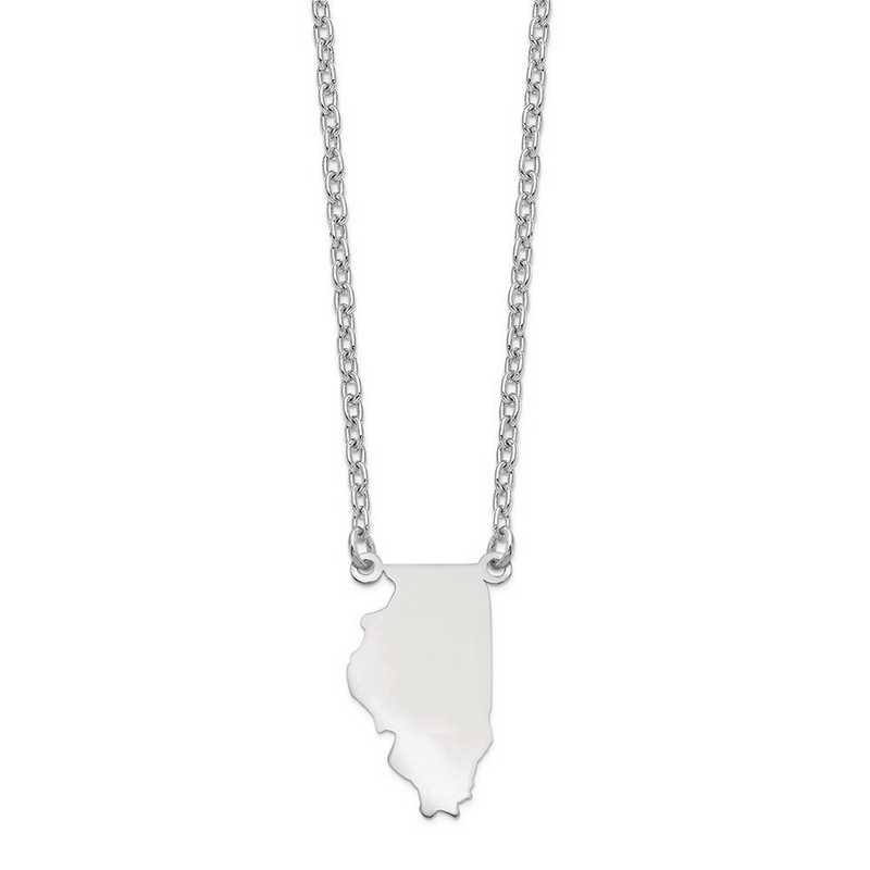 XNA706W-IL: 14k White Gold IL State Pendant with chain