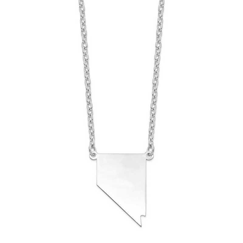 XNA706W-NV: 14k White Gold NV State Pendant with chain