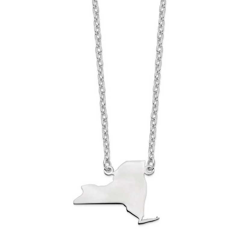 XNA706W-NY: 14k White Gold NY State Pendant with chain