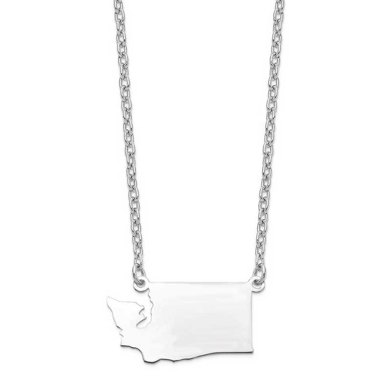 XNA706W-WA: 14k White Gold WA State Pendant with chain