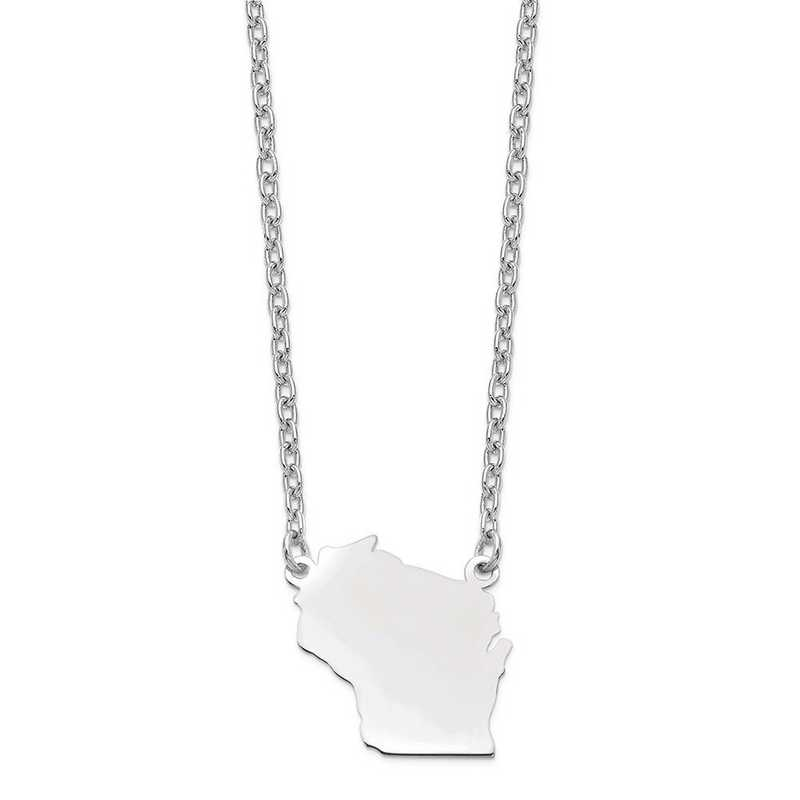 XNA706W-WI: 14k White Gold WI State Pendant with chain