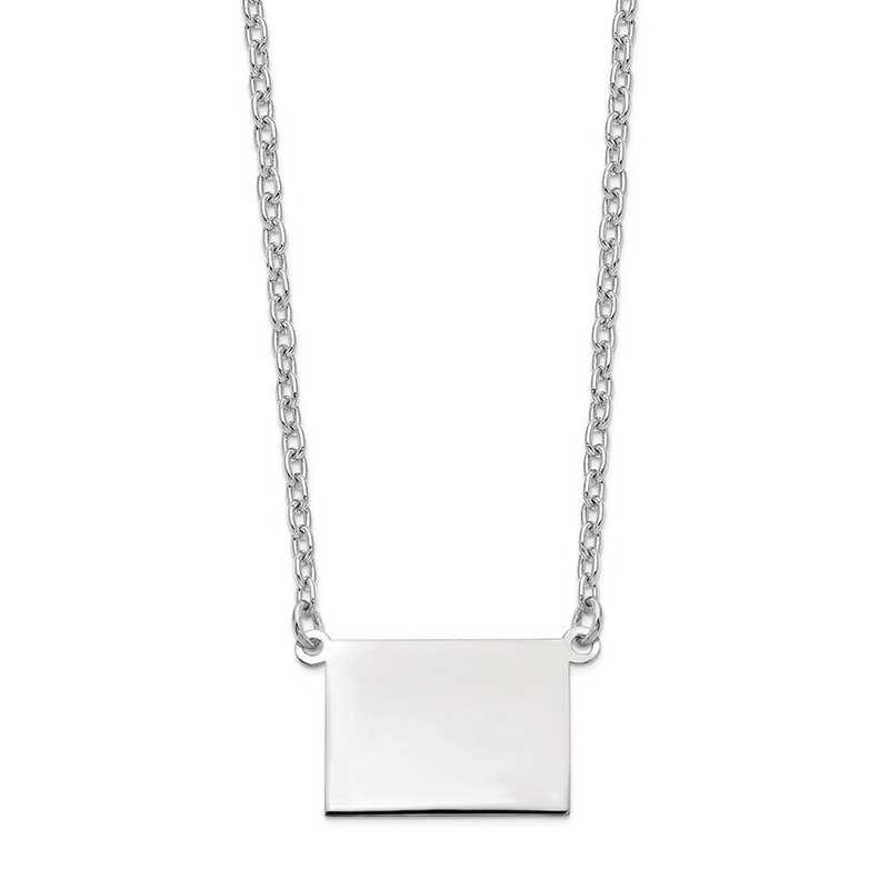 XNA706W-WY: 14k White Gold WY State Pendant with chain