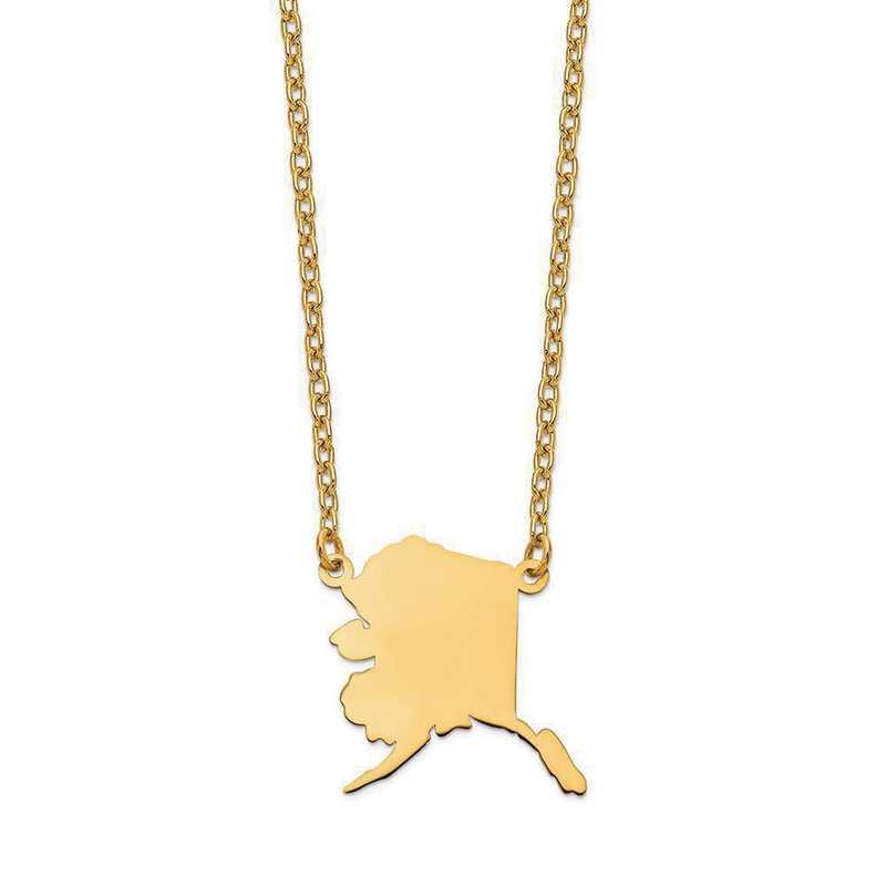 XNA706Y-AK: 14K Yellow Gold AK State Pendant with chain