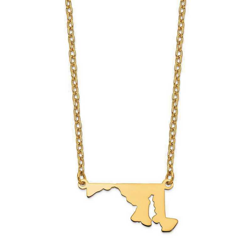 XNA706Y-MD: 14K Yellow Gold MD State Pendant with chain
