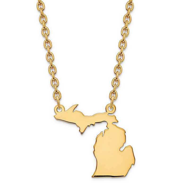 XNA706Y-MI: 14K Yellow Gold MI State Pendant with chain