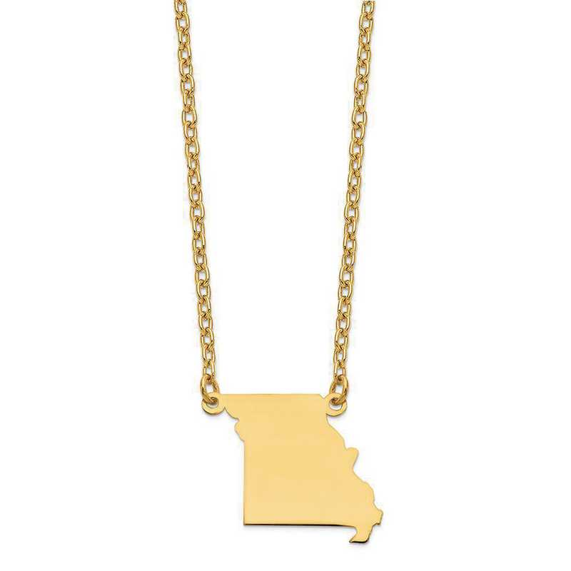 XNA706Y-MO: 14K Yellow Gold MO State Pendant with chain