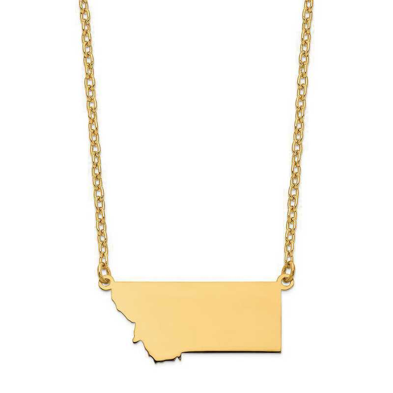 XNA706Y-MT: 14K Yellow Gold MT State Pendant with chain