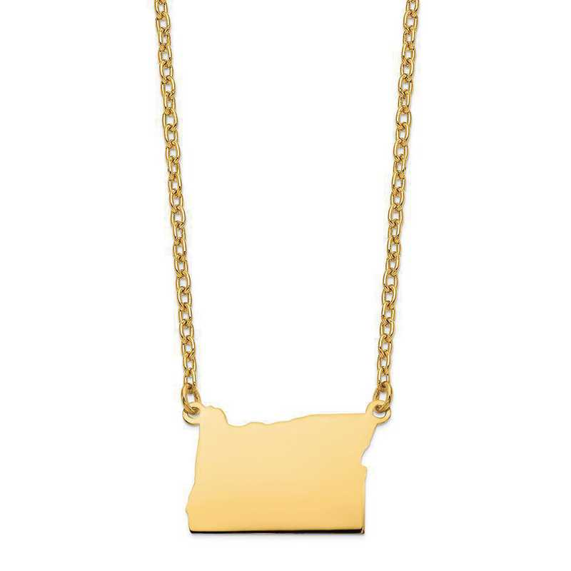 XNA706Y-OR: 14K Yellow Gold OR State Pendant with chain