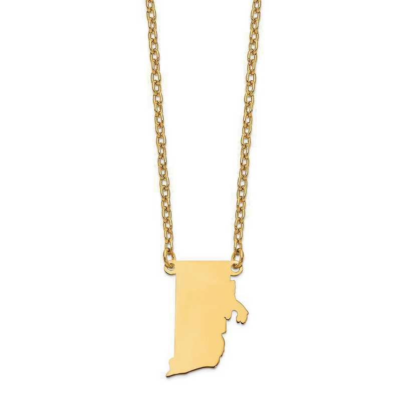 XNA706Y-RI: 14K Yellow Gold RI State Pendant with chain