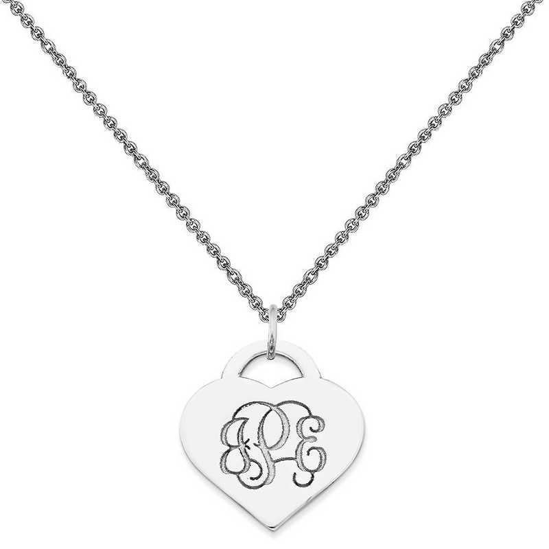 10XNA511W-10PE74-18: 10KW Casted High Polished Letters Heart Monogram Pendant