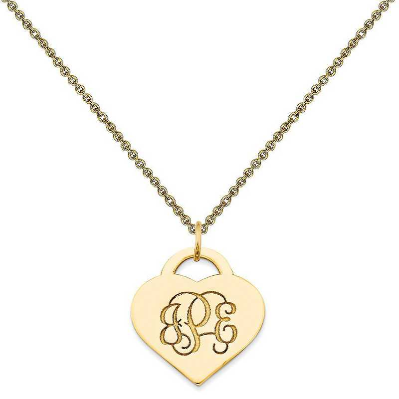10XNA511Y-10PE53-18: 10KY Casted High Polished Letters Heart Monogram Pendant