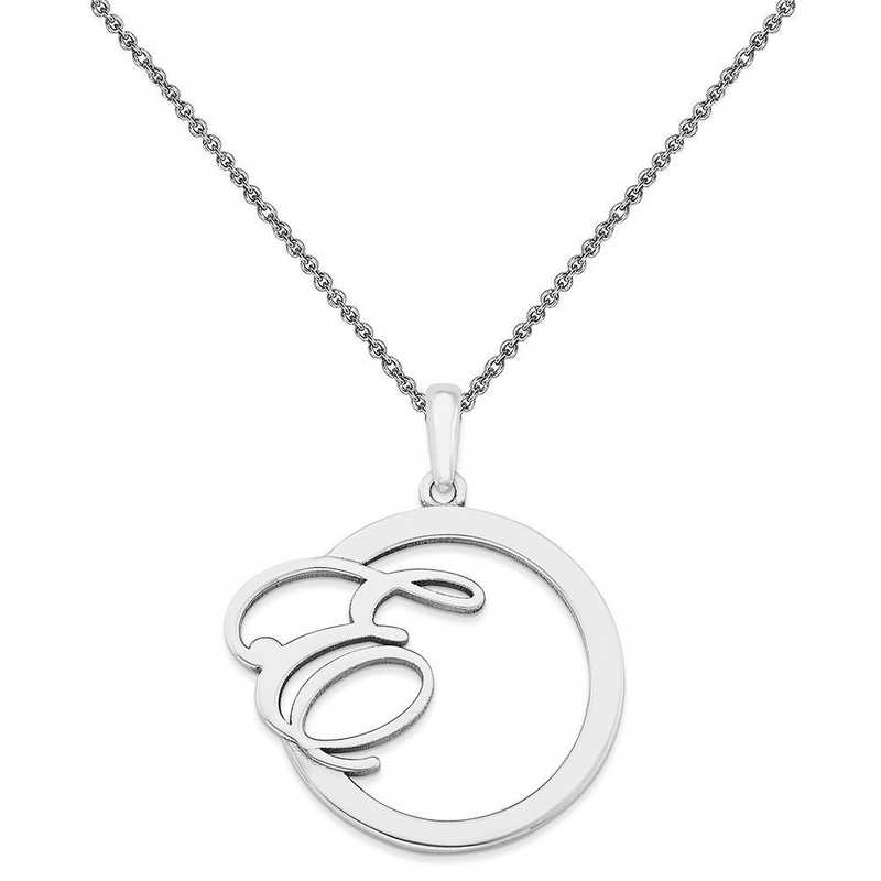 10XNA515W-10PE74-18: 10KW Casted Polished & Satin Initial in Circle Pendant