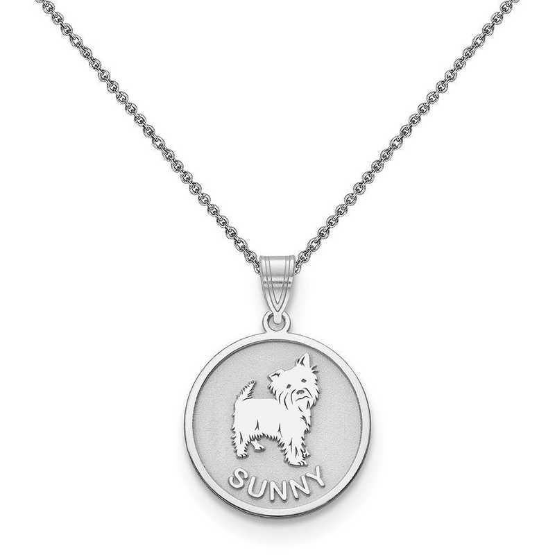 10XNA859W-10PE74-18: 10k White Gold Personalized Dog Charm