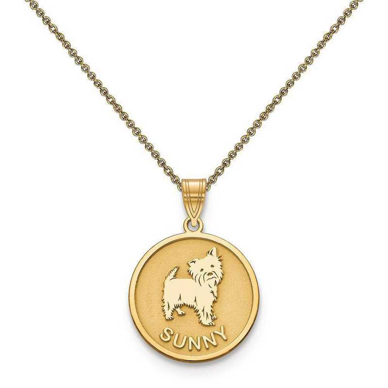 10XNA859Y-10PE53-18: 10k Yellow Gold Personalized Dog Charm