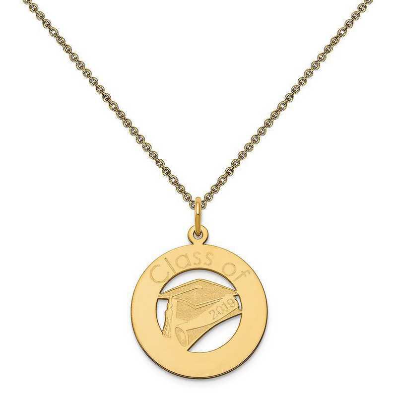 XNA360Y-PEN53-18: 14 Karat Yellow Gold Personalized Graduation Charm
