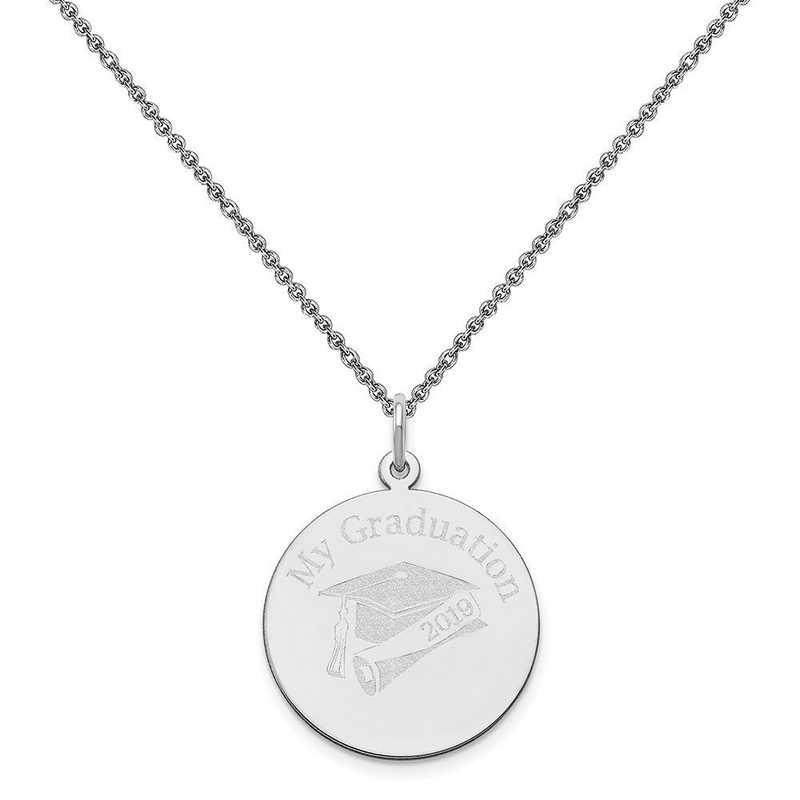 XNA361W-PEN74-18: 14 Karat White Gold Personalized Graduation Charm