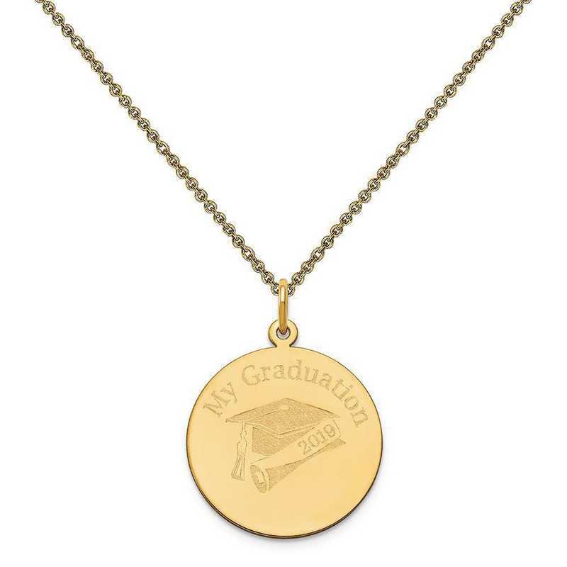 XNA361Y-PEN53-18: 14 Karat Yellow Gold Personalized Graduation Charm