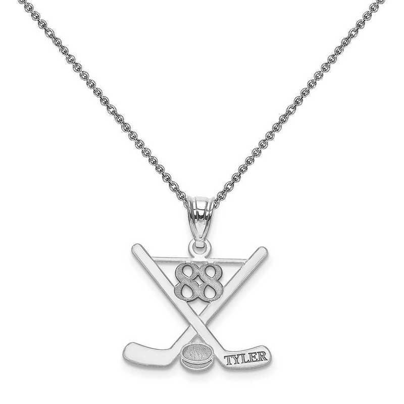 XNA703W-PEN74-18: 14k White Gold Laser Polished Name And Number Hockey Pendant