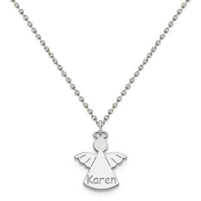 XNA868SS-QCL050R-18: Sterling Silver Rhodium-plated Angel Name Charm