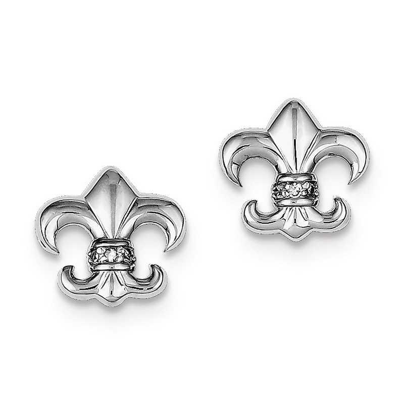 QE9225: 925 Rhodium Plated CZ Fleur de lis Post Earrings