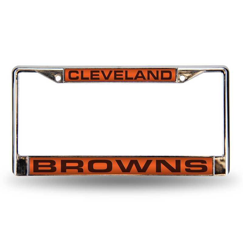 FCL2801: NFL FCL Chrome Lsr License Frame Browns