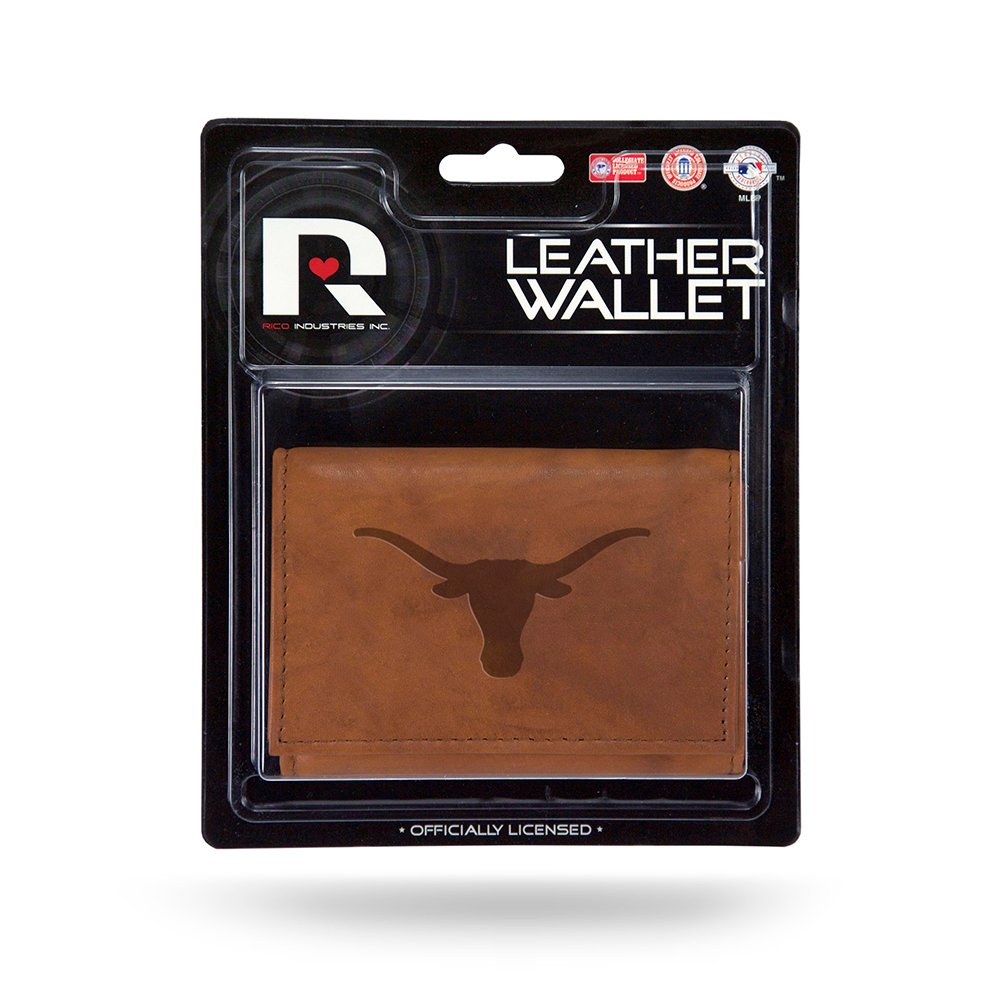 Texas Longhorns Premium Brown Leather Money Clip Front Pocket Wallet Embossed University of Inc Rico Industries