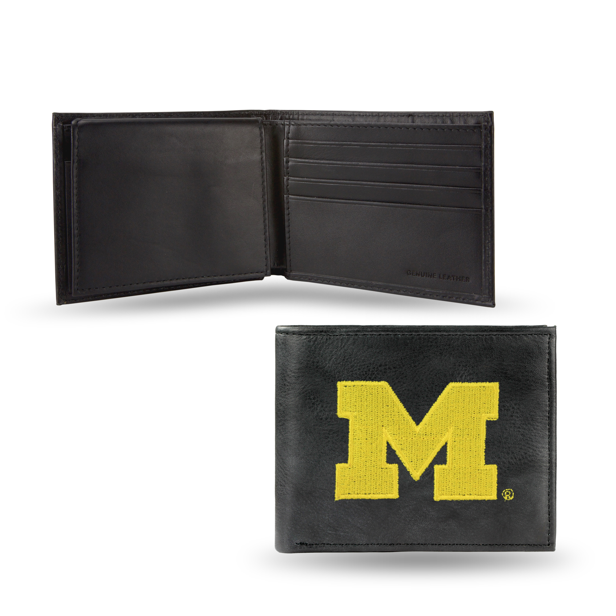 Black Leather Wallet Sterling Silver LogoArt Official Licensed Collegiate University of Michigani UM