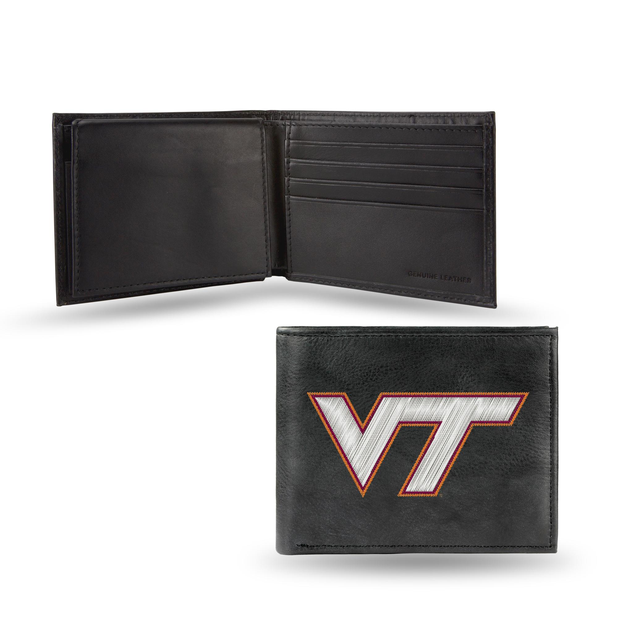 Virginia Tech Hokies Genuine Leather Wallet Black College NCAA Trifold Football