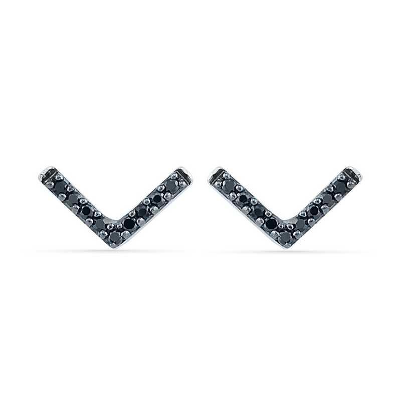 EF201877BAW B: 925 1/10CTTW BLK DIA ARROW EARRINGS