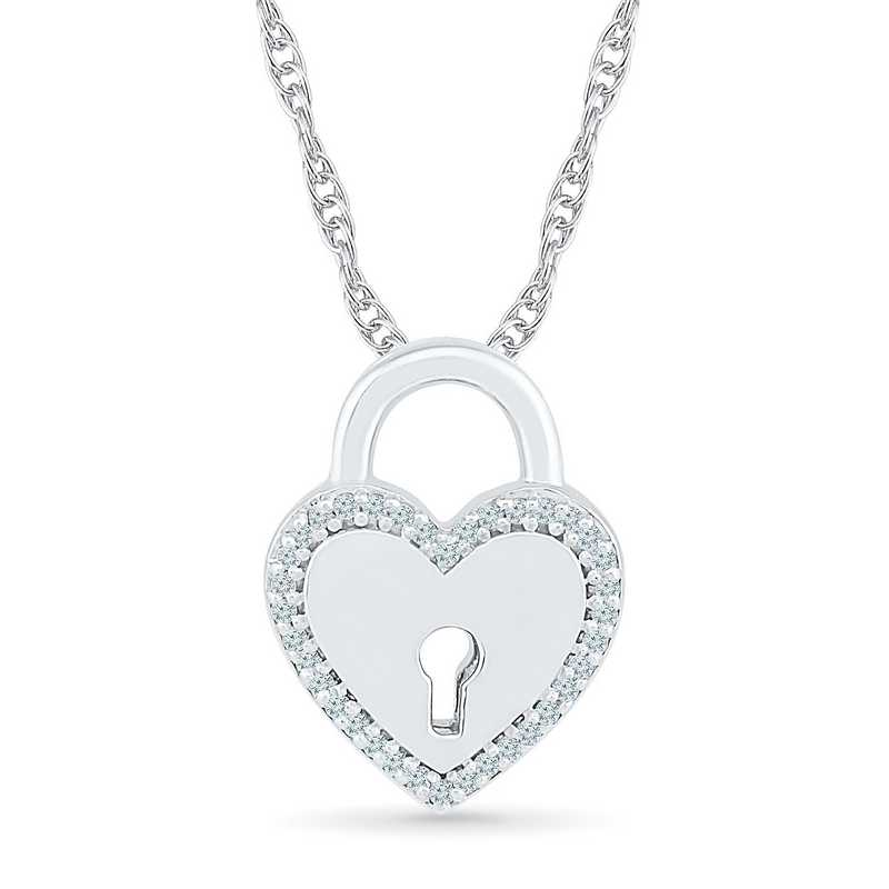 PQ079412BAW: 925 1/10CTTW DIA HEART LOCKET PENDANT NECKLACE