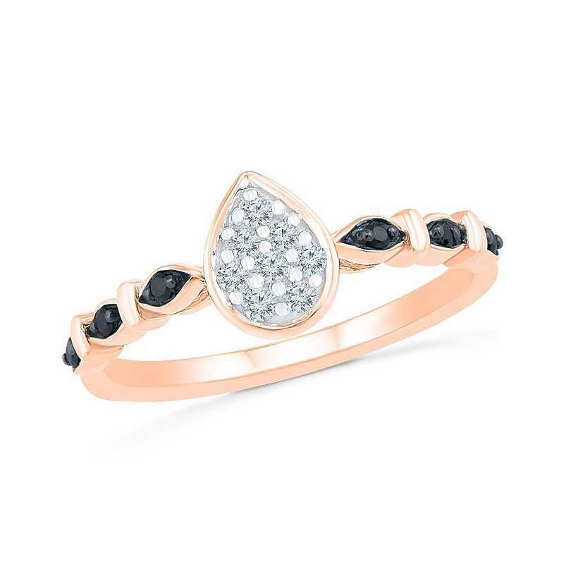 10K Rose Gold 1/8 CT.TW. Diamond Black & White Diamond Promise Ring