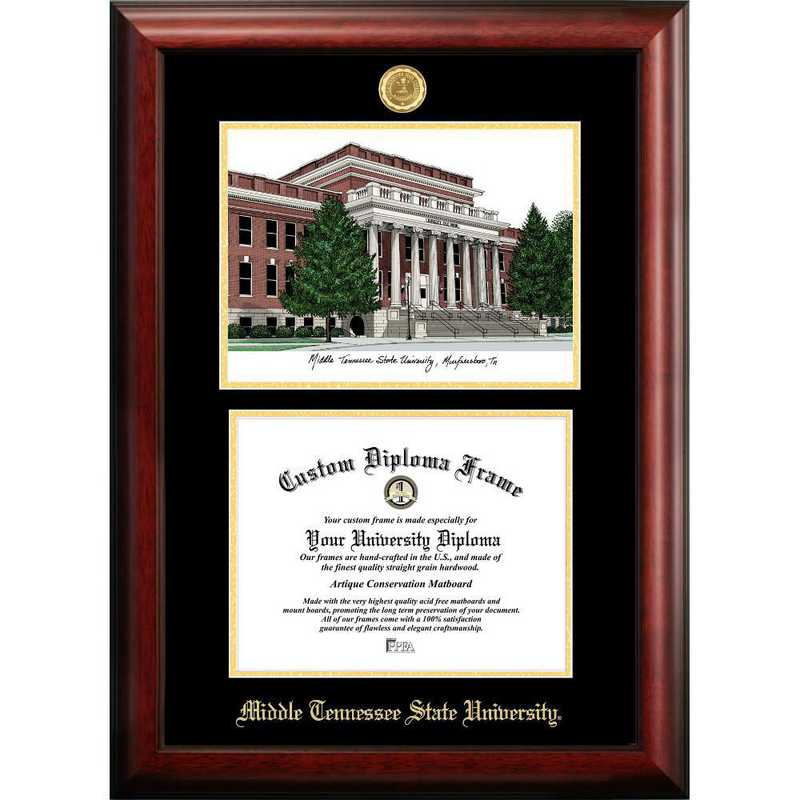 TN999LGED-1411: Middle Tennessee State 14w x 11h Gold Embossed Diploma Frame with Campus Images Lithograph