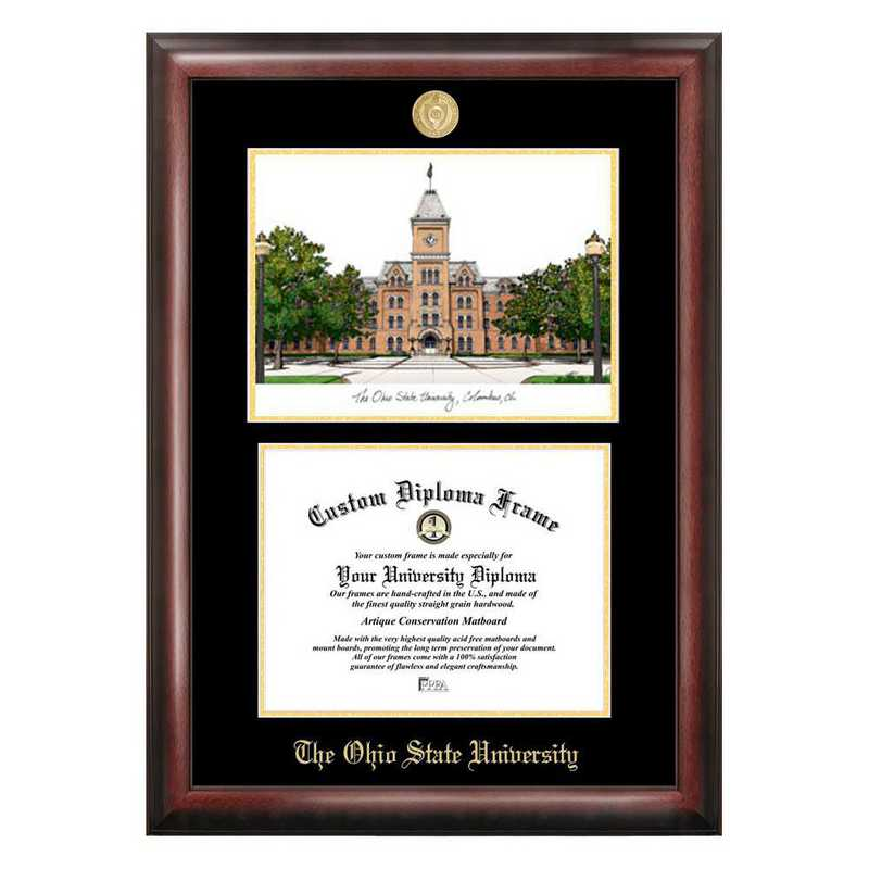 OH987LGED-1185: Ohio State University 11w x 8.5h Gold Embossed Diploma Frame with Campus Images Lithograph