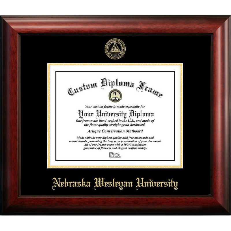 NE998GED-1185: Nebraska Wesleyan University 11w x 8.5h Gold Embossed Diploma Frame