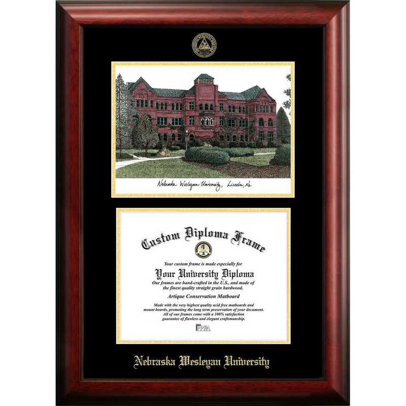 NE998LGED-1185: Nebraska Wesleyan University 11w x 8.5h Gold Embossed Diploma Frame with Campus Images Lithograph