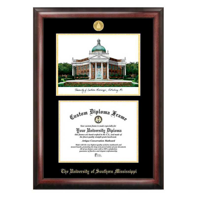MS998LGED-1185: Southern Mississippi 11w x 8.5h Gold Embossed Diploma Frame with Campus Images Lithograph