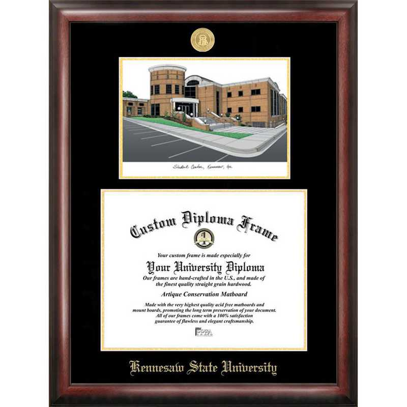 GA986LGED-1411: Kennesaw State University 14w x 11h Gold Embossed Diploma Frame with Campus Images Lithograph