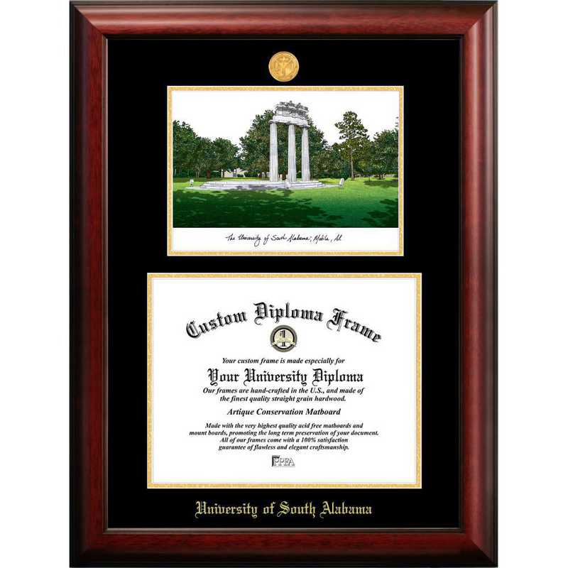 AL991LGED-1185: University of South Alabama 11w x 8.5h Gold Embossed Diploma Frame with Campus Images Lithograph