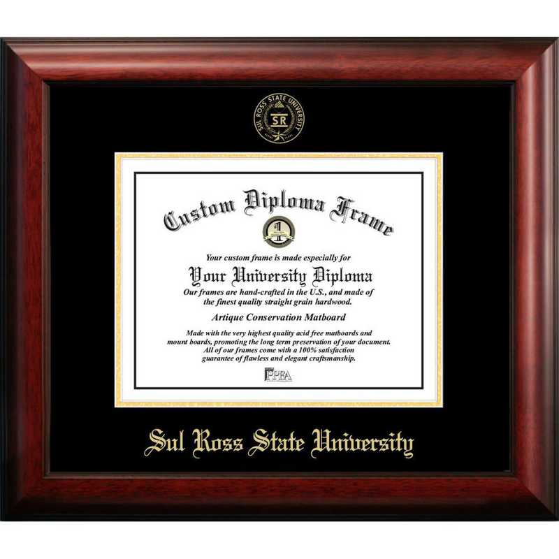 TX984GED-1185: Sul Ross State University 11w x 8.5h Gold Embossed Diploma Frame