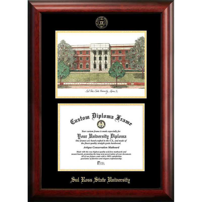 TX984LGED-1185: Sul Ross State University 11w x 8.5h Gold Embossed Diploma Frame with Campus Images Lithograph