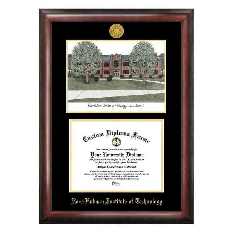 IN994LGED-1185: Rose Hulman Institute of Technology 11w x 8.5h Gold Embossed Diploma Frame with Campus Images Lithograph
