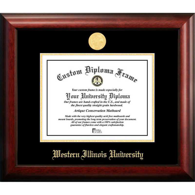 IL978GED-1185: Western Illinois University 11w x 8.5h Gold Embossed Diploma Frame