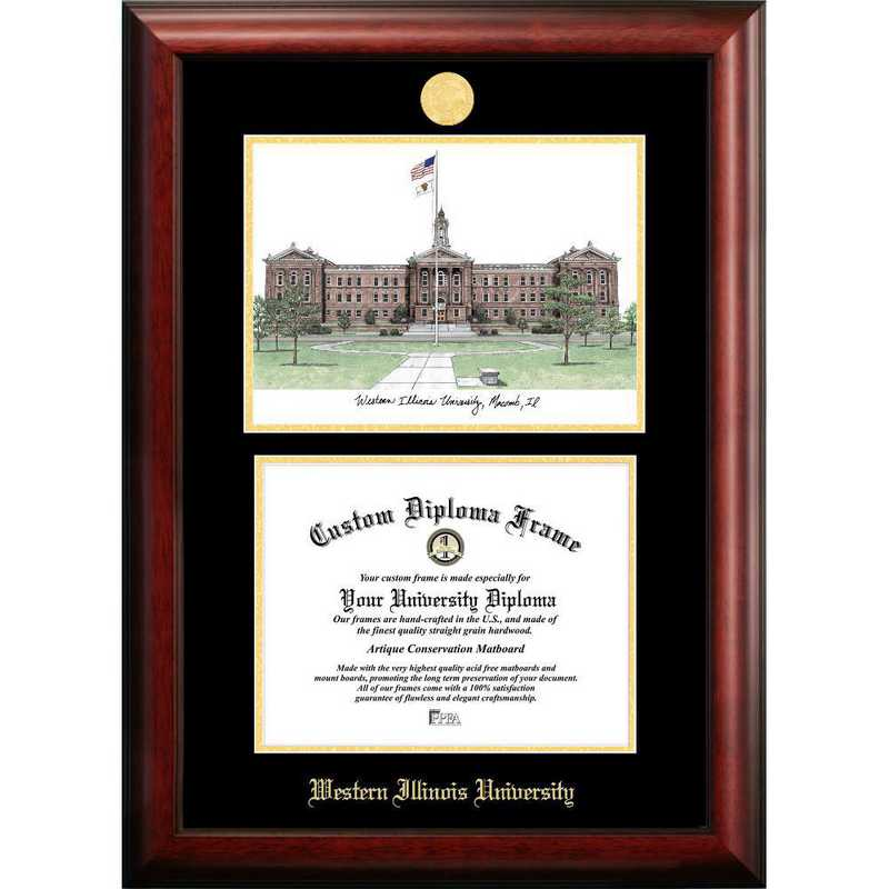 IL978LGED-1185: Western Illinois University 11w x 8.5h Gold Embossed Diploma Frame with Campus Images Lithograph